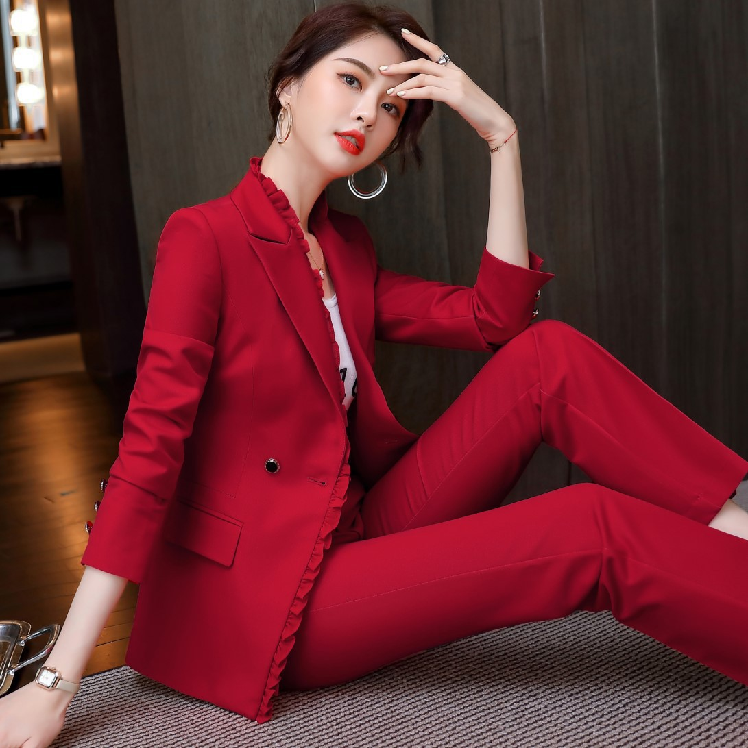 High-end plus size women's clothing S-4XL Autumn and winter professional ladies two-piece suit pants Elegant trousers overalls