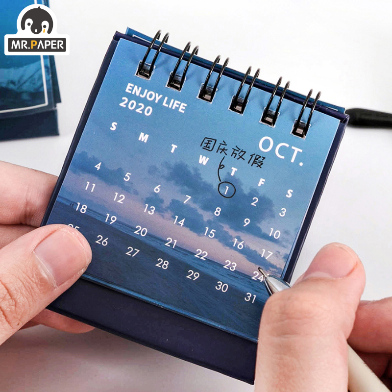Mr.Paper 2021 mini Calendars Creative Desktop Ornaments Portable Work Note Calendar New Year Study Work Daily Schedulel 6 Styles 4