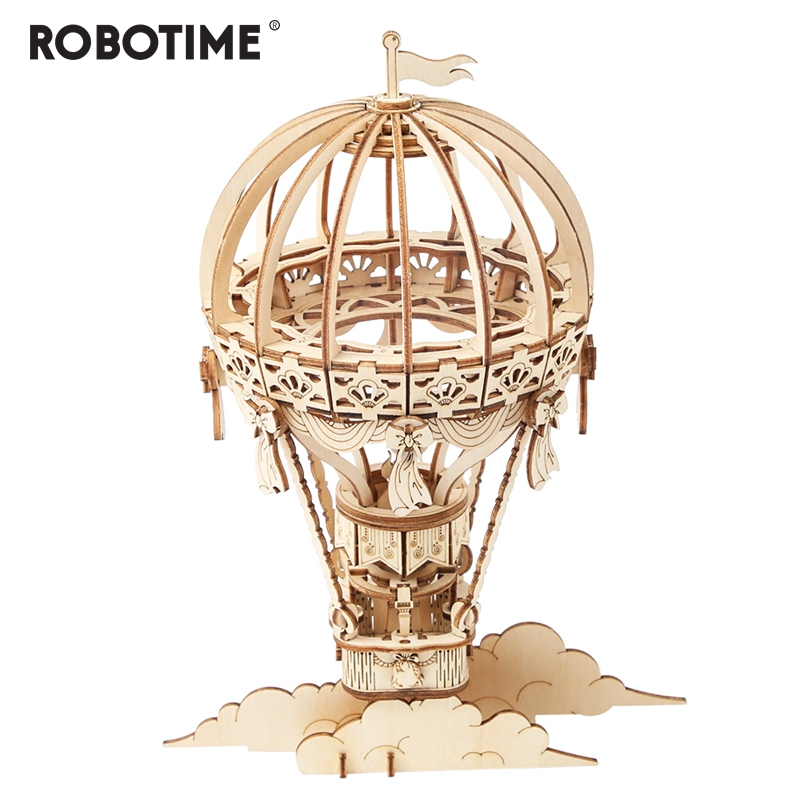 Robotime New Arrival DIY 3D Wooden Hot Air Ballon Model Building Kit Toy Gift For Children Friend TG406