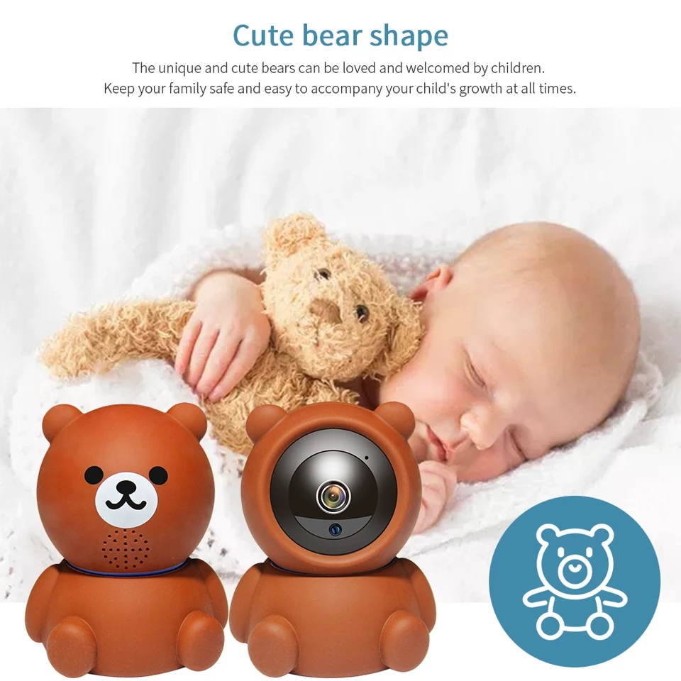 Animal Style Cute Bear Baby Monitor Wireless IP Camera WiFi 1080P IR Night Vision Voice Call WiFi Camera Security Surveillance