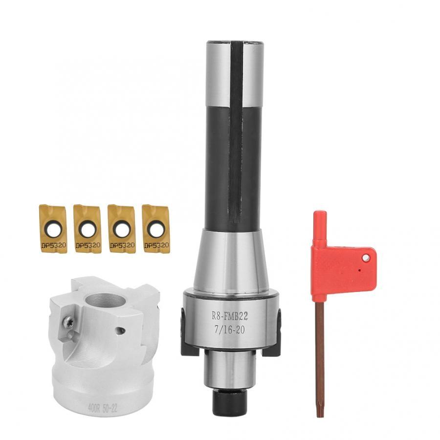 R8 FMB22 Shank Face Shell Mill Arbor + 400R 50mm Face End Mill Cutter Face Mill Cutter Set