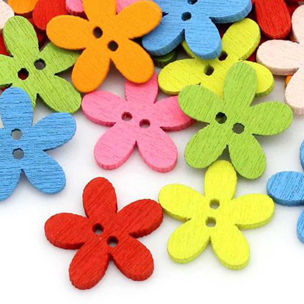 50 pcs 꽃 나무 단추 바느질 바느질 scrapbooking 카드 공예 diy 장식 2019