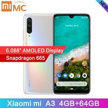 """新到着シャオ mi mi A3 6.088 """"AMOLED 4 ギガバイト 64 ギガバイトで 48MP スマートフォンの Snapdragon 665 オクタコア画面指紋 4030mAh 携帯電話"""