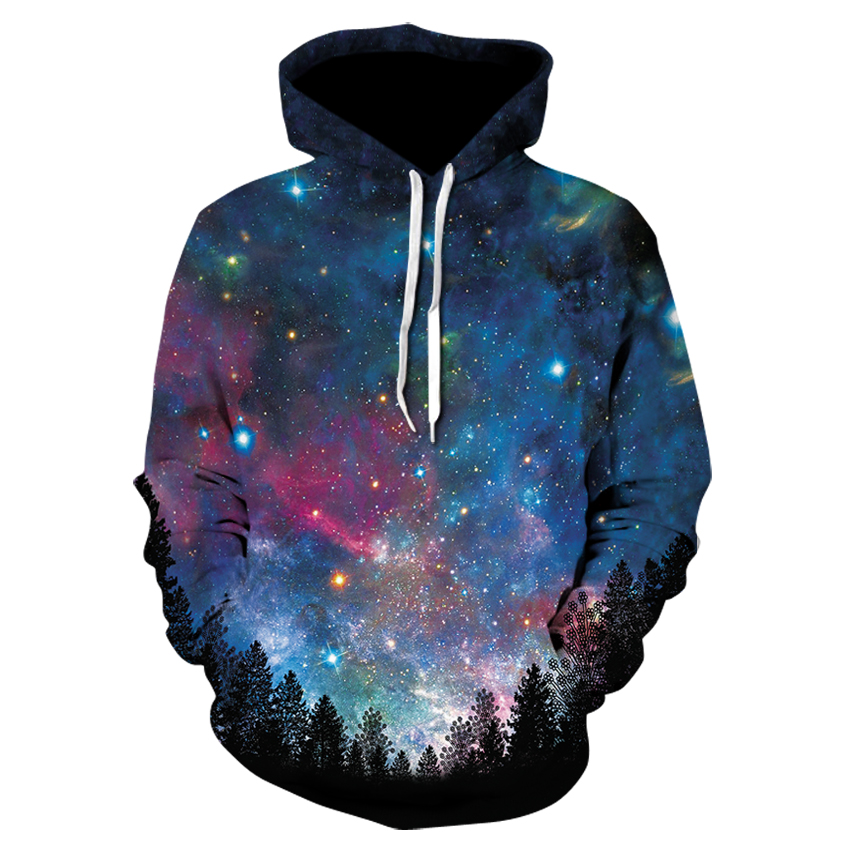 Men's Casual Autumn Winter 3D Printing Hoodie Long Sleeve Space Galaxy Fashion Design Sweatshirt  HoodiesTop Drop Shipping