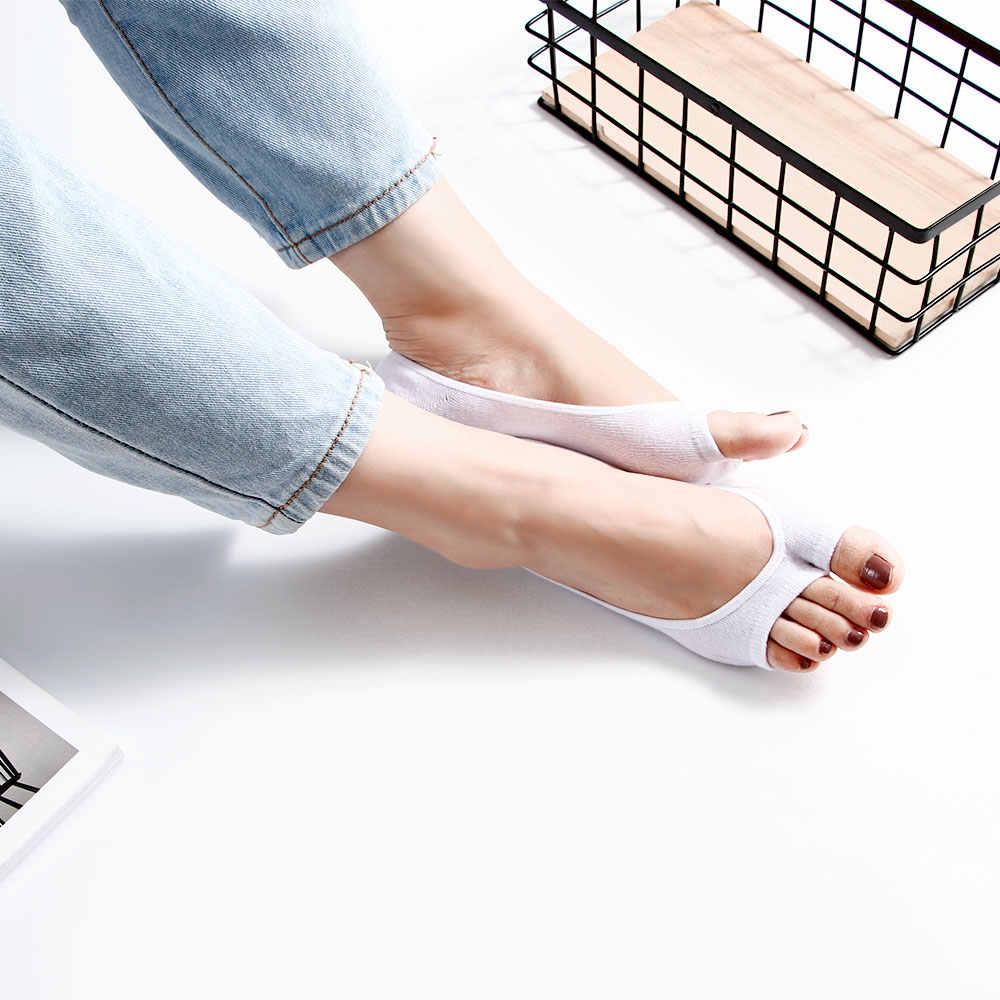 Estate Calzini e Calzettoni Delle Ragazze Delle Donne di Open Toe Cotone Peep-Toe Calze di Pizzo Anti-skid Invisibile Peep-Toe Basso taglio Casual della Barca di Colore Solido Calzino