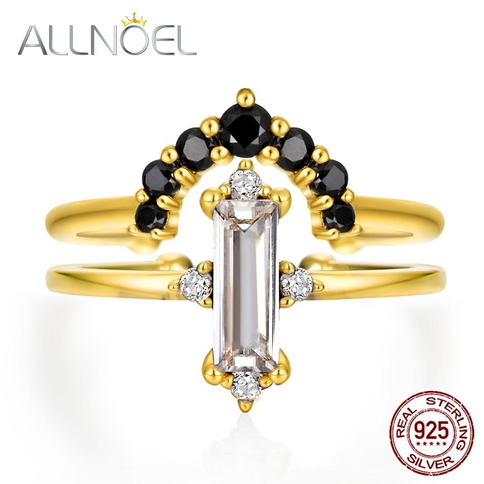 ALLNOEL  Stackable Ring Set 9K Gold Black Zircon Rose Quartz Green Agate Fine Jewelry 925 Sterling Silver Bridal Rings For Women