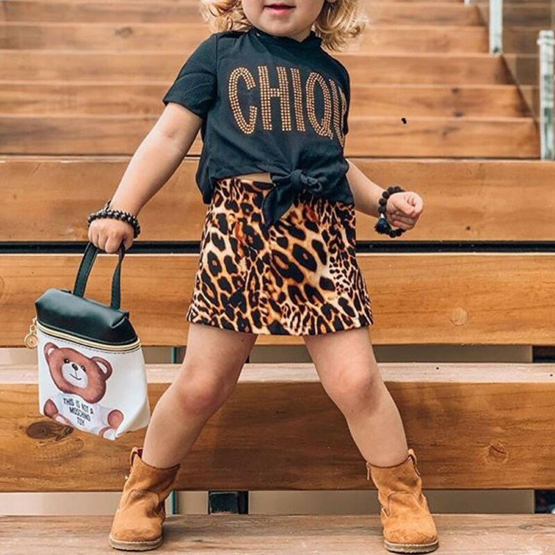 Leopard Toddler Kid Baby Girls Clothes Summer Short Sleeve T Shirt + Leopard Skirts Outfits Children Costumes