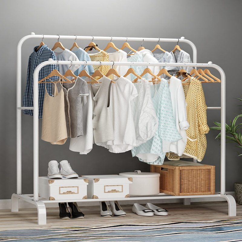 Simple clothes hanger household floor hanging clothes hanger bag rack bedroom folding lifting clothes drying pole|  - title=