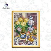 Набор для вышивки joy sunday ваза крестиком ткань с принтом