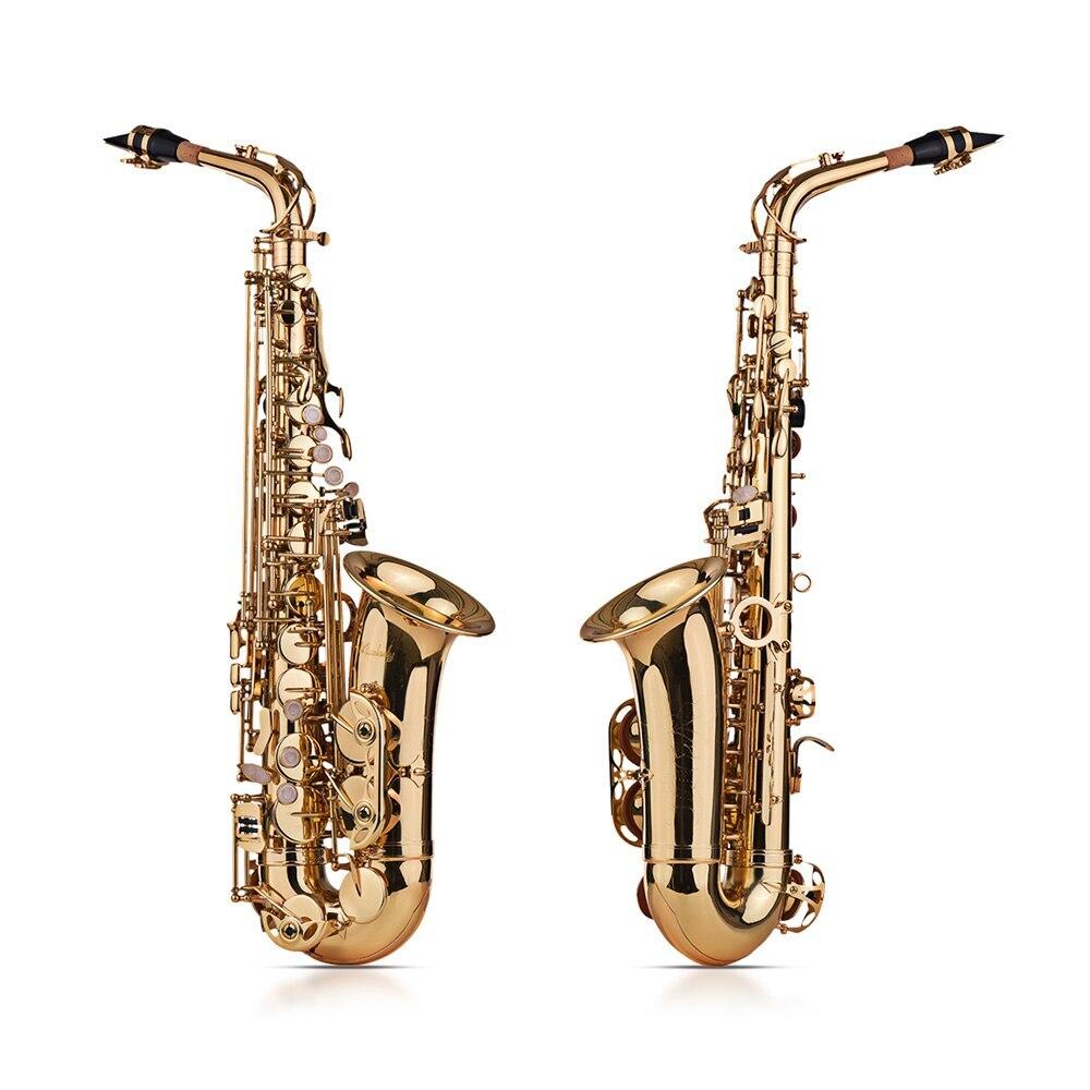 Muslady Eb Altsaxofoon Sax Messing Gelakt Goud 802 Type Sleutel Sax Muziekinstrumenten Met Gewatteerde Draagtas Handschoenen - 4