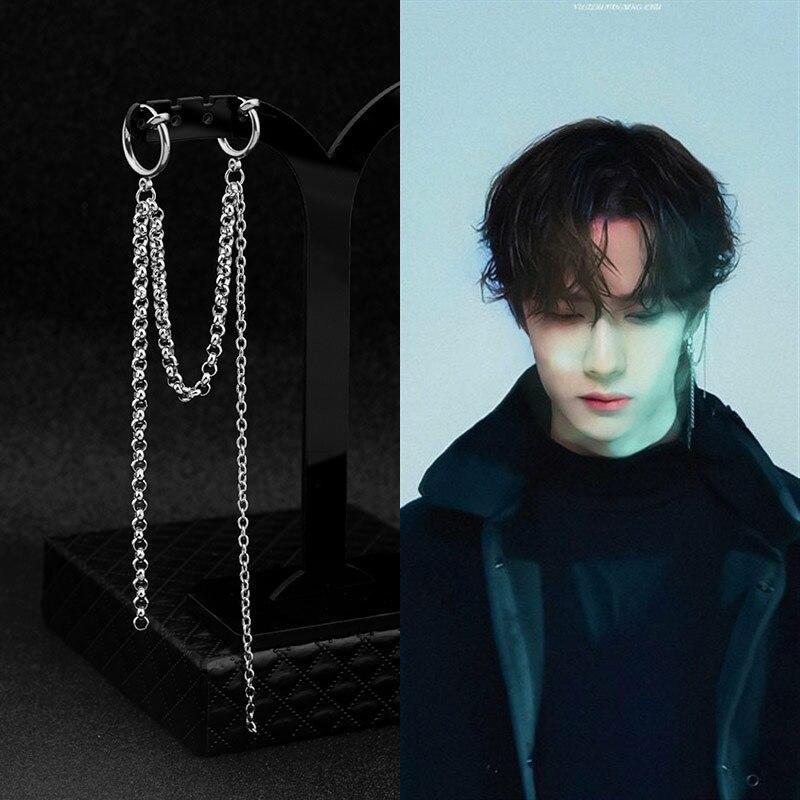1 Pcs Fashion Punk Korean KPOP Boys Stainless Steel Chain Earrings Ear Stud Earrings For Women And Men Jewelry