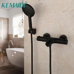 KEMAIDI Thermostatic Mixer Faucet Constant Temperature Shower Mixer Tap Matte Black Bathtub Faucets Handheld Bath Shower Set