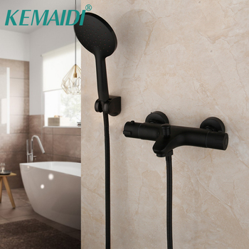 KEMAIDI Thermostatic Mixer Faucet Constant Temperature Shower Mixer Tap Matte Black Bathtub Faucets Handheld Bath Shower Set