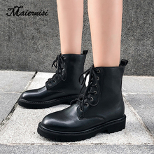 MAIERNISI Black boots women autumn and winter new fashion boots flat bottom with thick heel boots Martin boots ladies free shipping martin boots motorcycle black boots women new arrived fashion women winter and autumn woman plush boots
