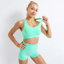 Ginásio nova cintura alta leggings yoga sutiã esportivo à prova de choque de fitness roupa interior das mulheres conjunto treino 2 peça