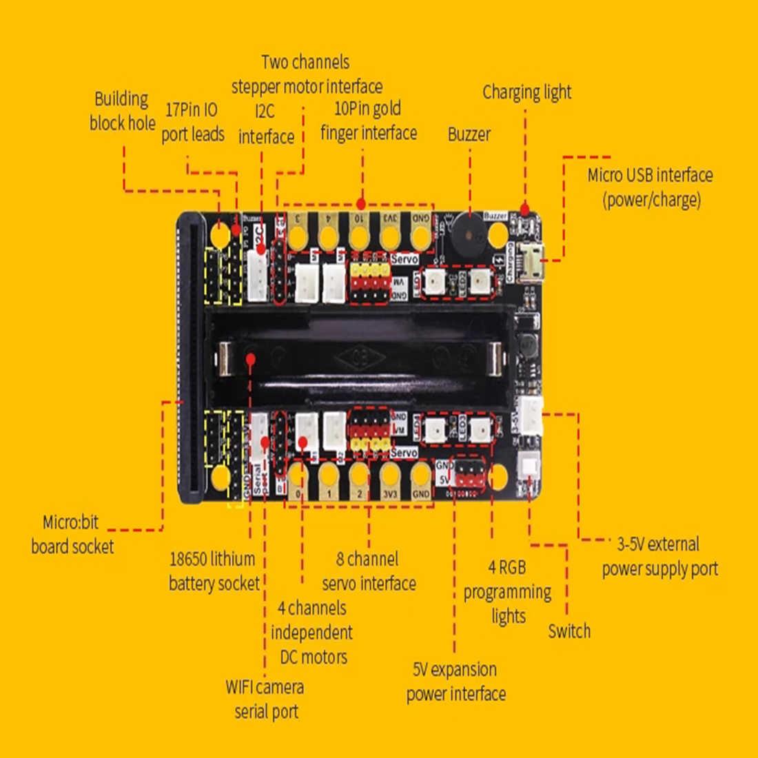 Программа интеллектуального робота Комплект парового программирования Образование Строительный блок паук для микро: бит (в том числе микро: битная плата)