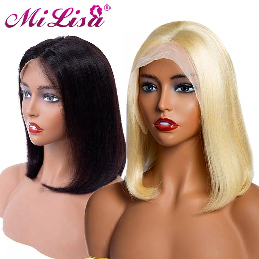 613 Bob Lace Front Wig For Black Women Glueless Lace Front Human Hair Wigs Pre Plucked Remy Brazilian Blunt Cut Bob Wig Frontal