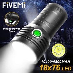 10400/4800mAH Built-in Battery Super bright LED Flashlight Powerful Flash Light Waterproof Floodlight Torch USB Rechargeabl lamp