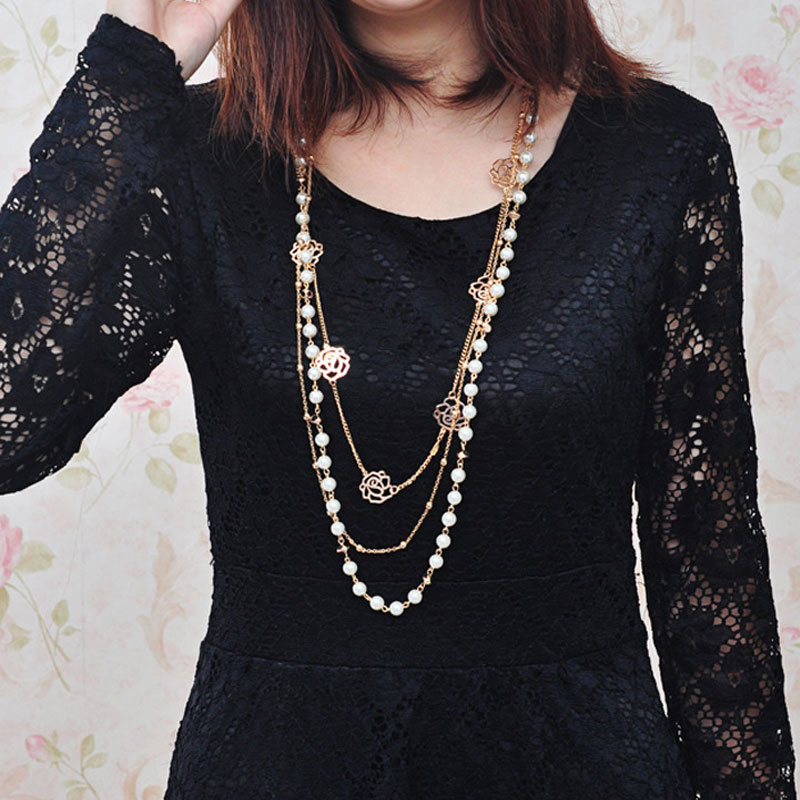 Long Simulated Pearl Necklace For Women Camellia Double Layer Pendant Sweater Chain Party Necklace
