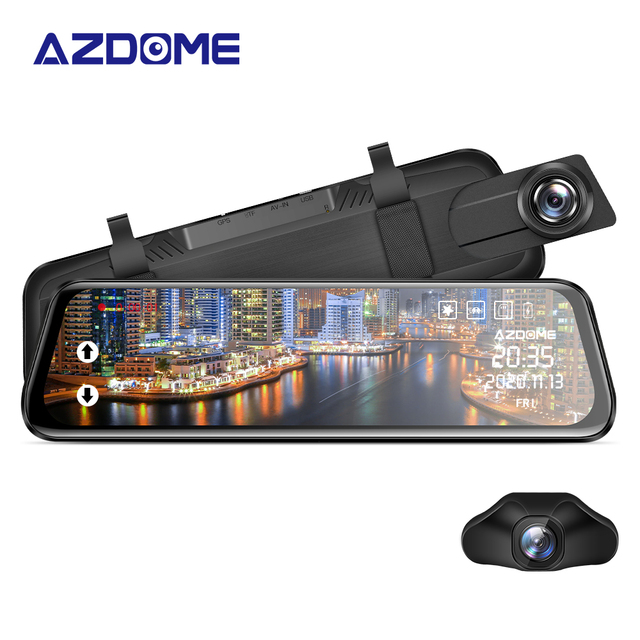 "AZDOME PG02 Night Vision Car Dvr Camera Rearview 10"" Streaming Media Mirror Video Recorder Camcorder Dash Cam FHD 1080P dual len"