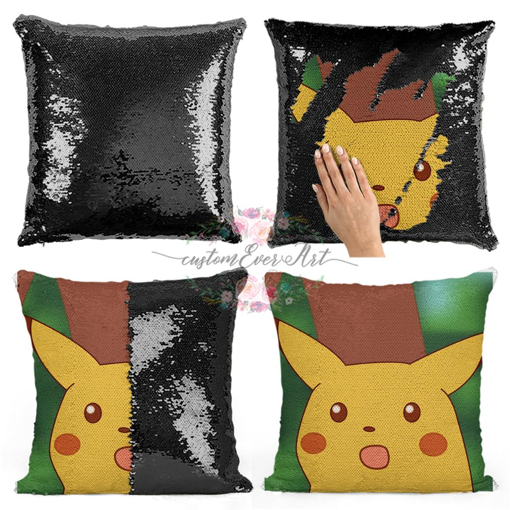 Surprised Meme Sequin Pillow   Sequin Pillowcase   Two Color Pillow   Gift For Her   Gift For Him   Pillow   Magic Pillow