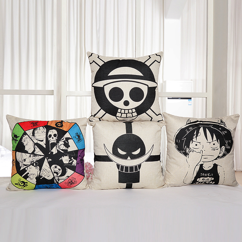 45*45 cm One Piece Action Figure plush toys cartoon Living room pendant flax pillow cover Bedroom Deco dolls for kids party
