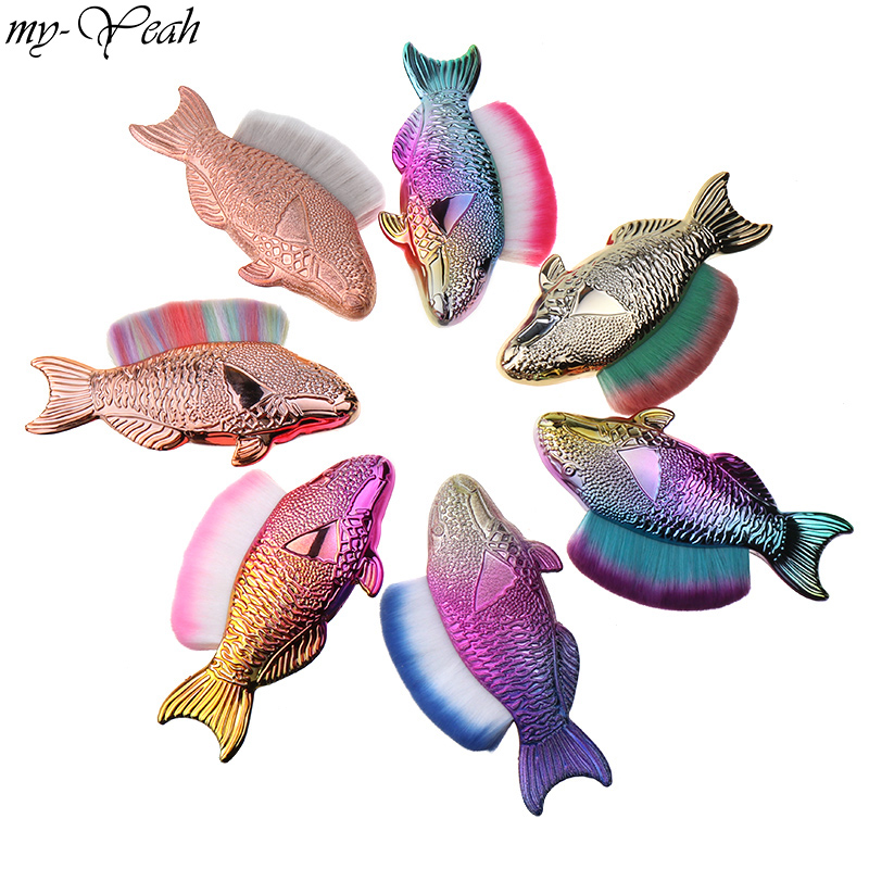 7 Styles Fish Shape Nail Art Dust Cleaning Soft Hair Brush Glitter Powder Sequins Remove Brush Manicure Care Tool