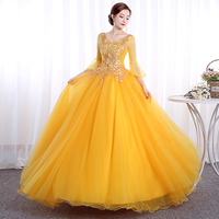 Yellow Ball Gowns 2019 Quinceanera Dresses 3D Floral Flowers Tulle Dresses 15 year old Masquerade Gown vestido longo debutante