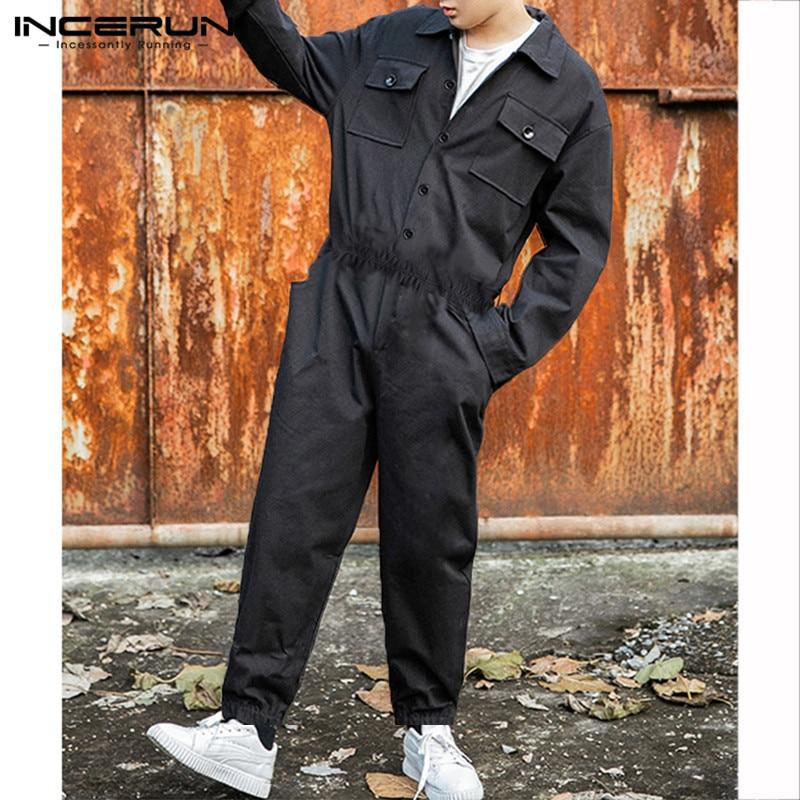 INCERUN Fashion Men Cargo Overalls Punk Style Hip-hop Pockets Pants Loose Solid Long Sleeve Rompers Men Jumpsuit Streetwear 2020