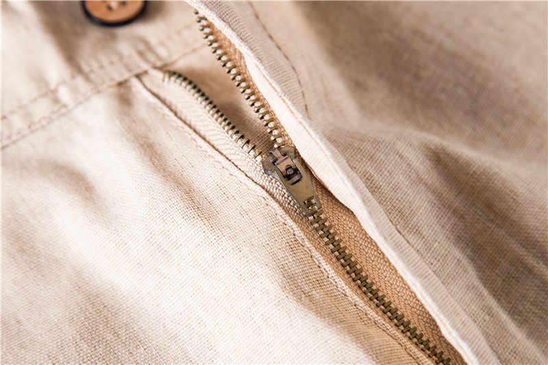 2020 חדש קיץ 100% כותנה פשתן מכנסיים קצרים גברים באיכות הברך אורך מקרית Mens מכנסיים קצרים לנשימה מוצק צבע קצר מכנסיים גברים