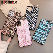 EKONEDA Bling Glitter Wrist Strap Case For iPhone 11Pro  X XR XS Max Case Phone Holder Cover For iPhone 7 8 6 6S Plus Soft Case glitter powder holder phone case for iphone 11 x xr xs max 6 6s 7 8 plus transparent soft tpu wrist strap shockproof back cover