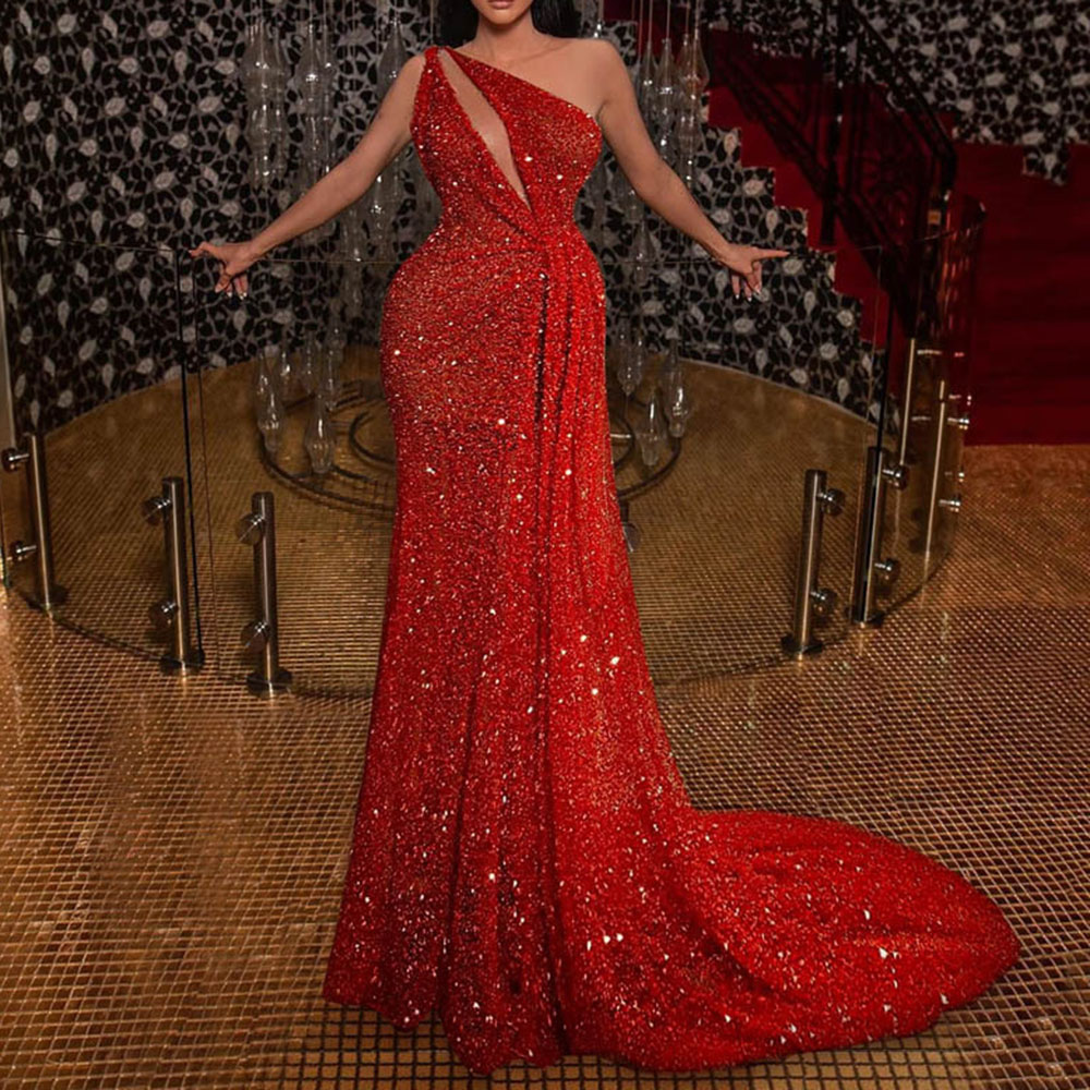 Elegant Sparkly Red Evening Dress Women Sexy One Shoulder Hollow Mermaid Long Robe Sequies Wedding Formal Gowns Party Dresses