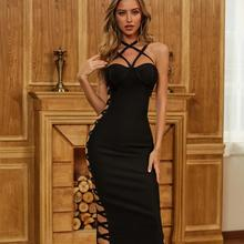 Bodycon Bandage Dress 2020 Sexy O Neck Hollow Out Black Knee Length Women Summer