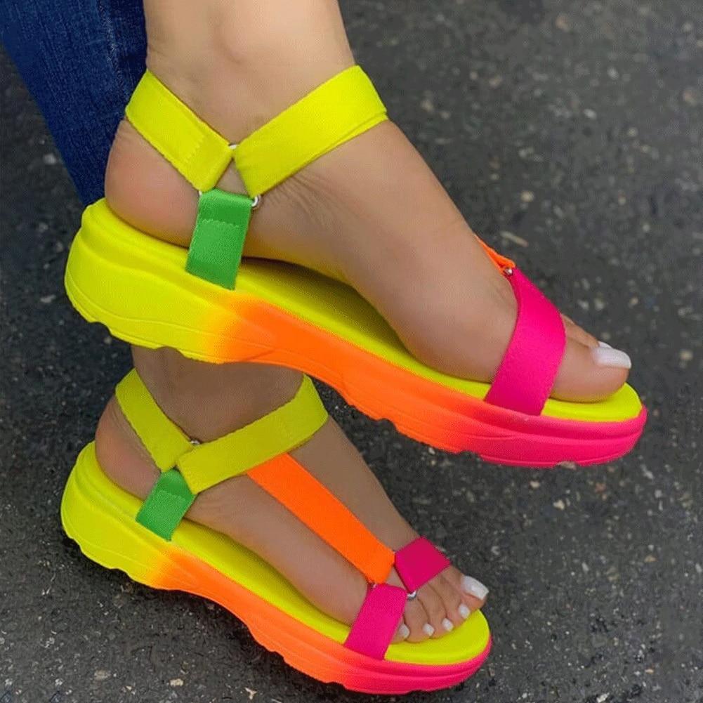 2020 INS Hot Sale Multi Colors Big Size 43 Casual Shoes Woman Flat Dropship Comfortable Sandals Female Light Sandalias Mujer