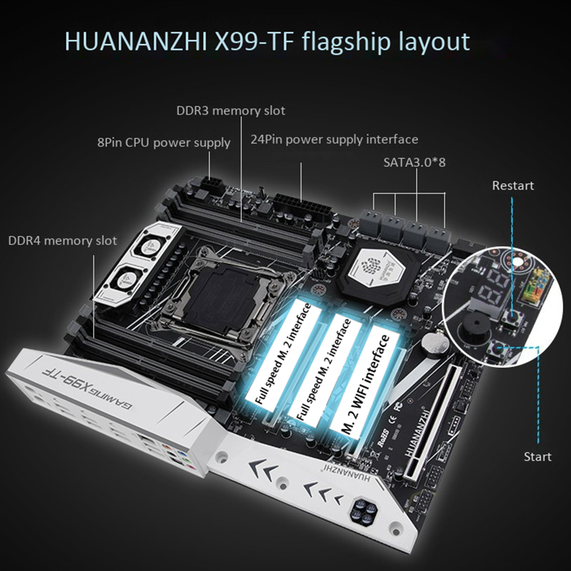 HUANANZHI X99 Motherboard with Dual M.2 NVME Slot Support Both DDR3 and DDR4 LGA2011-3 and LGA 2011With <font><b>CPU</b></font> E5 2678 <font><b>V3</b></font> image