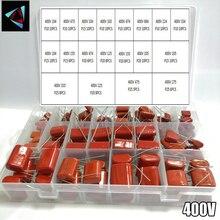 400V 165 adet/kutu 24 türleri 104 473 334 103 684 474 224 155 125 105 335 225 475 275 CBB Metal Film kondansatörler çeşitler kiti