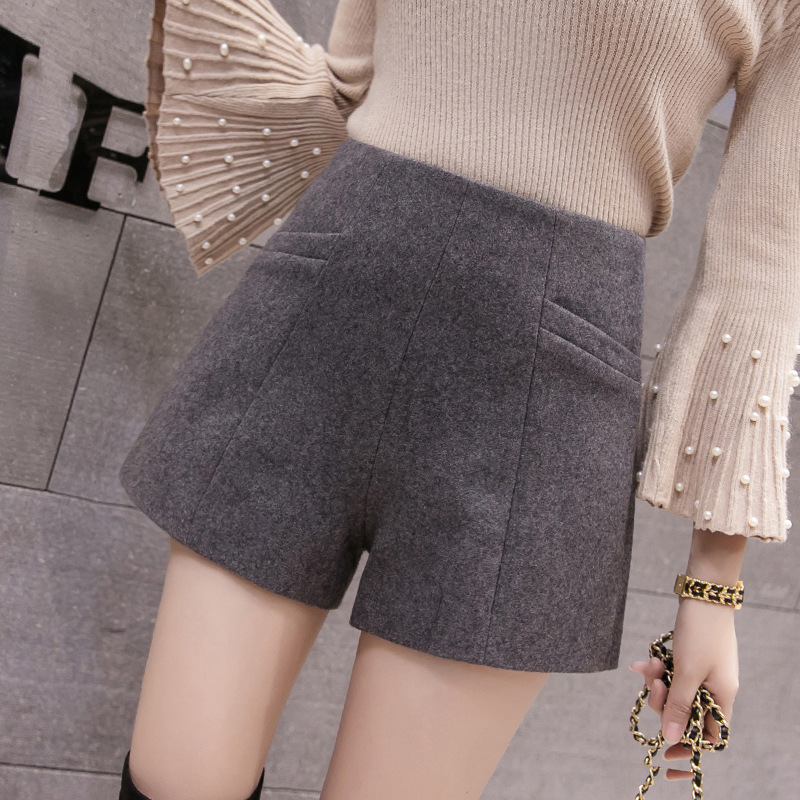 Autumn Fashion Women Woolen Shorts Office Lady Work High Waist Short Pants Winter Casual Women OL Pockets Wide Leg Pants