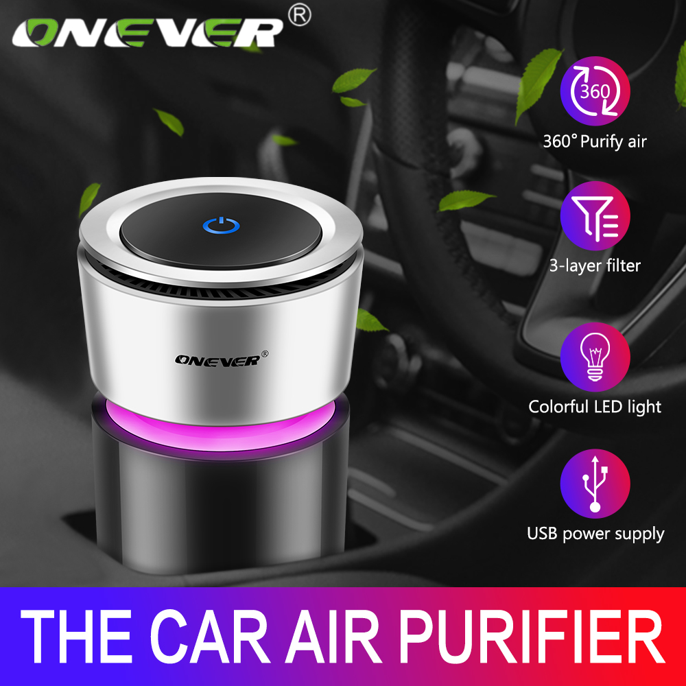 Onever Car Air Purifier 12V Negative Ions Air Cleaner Ionizer Air Freshener Auto Mist Maker Pm2 5 Eliminator Cup Car Charger