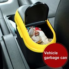 Portable car interior trash can double opening garbage bin auto