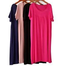 Sleepwear feminino solto manga curta noite sleepwear camisa plus size 2xl-7xl camisola de algodão macio oversize lingerie casa robe vestido