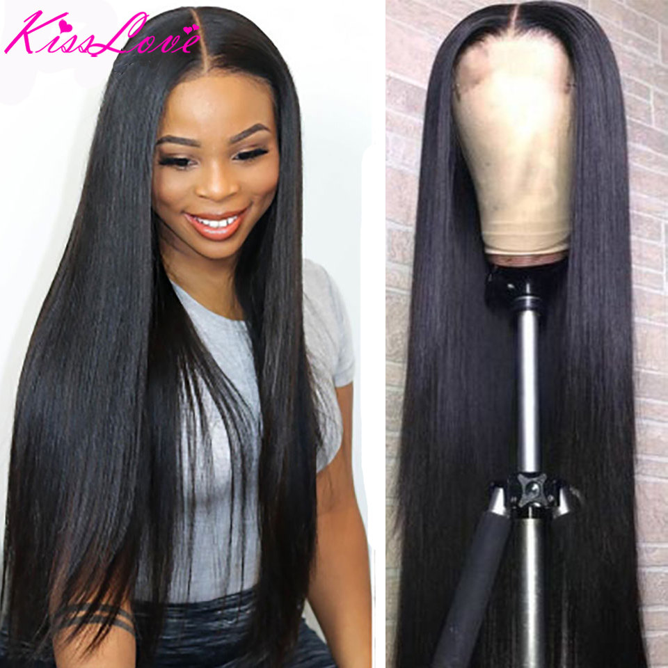 Brazilian 28-40 Inch Lace Frontal Wig Straight 13x4 Lace Front Human Hair Wigs Lace Frontal Wig Remy Hiar 180% Density Kiss Love