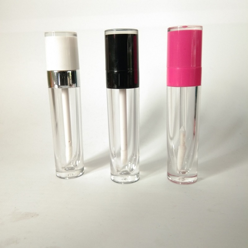 Empty Lip Gloss Tube Pink Black White Cap Round Plastic Lipgloss Containers Lip Gloss Tubes with Clear Bottle 50pcs/lot image