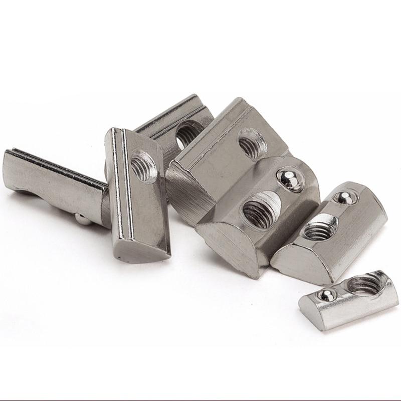 50 pces 100 pces perfil de extrusão de alumínio 2020 3030 4040 4545 cnc m3 m4 m5 m6 m8 metade redonda elasticidade mola porca bola porca