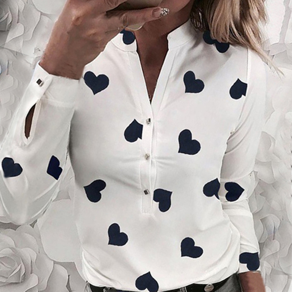 OEAK Long Sleeve Shirts Women V Collar Office Blouse Heart Printed Women Tops And Blouses Plus Size Vintage Blusas Femininas