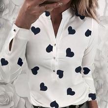 OEAK Long Sleeve Shirts Women V Collar Office Blous