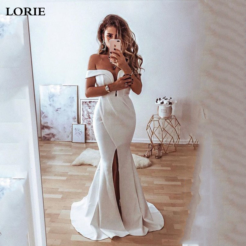 LORIE Boho Mermaid Wedding Dress Front Split Off The Shoulder Sexy Bridal Gown  V Neck Wedding Bride Gowns Vestidos De Novia
