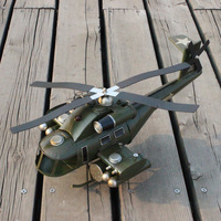 42x20x16CM Iron Sheet Retro Armed Helicopter Model Simulation Aircraft Fighter Military Model Toys for Children Adults
