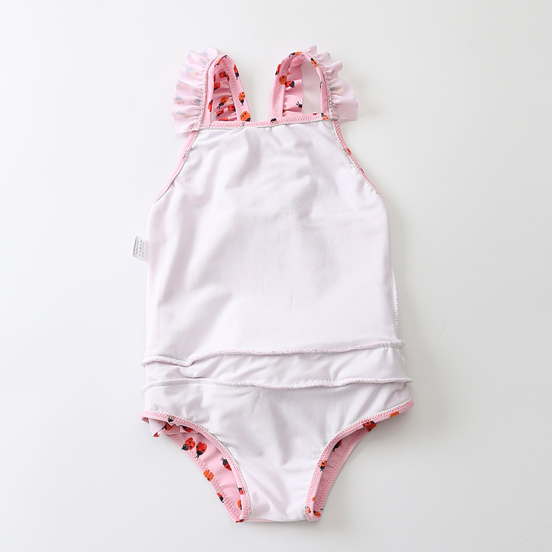INS Hot Selling Hot Search-Children Girls Ladybug Rose-red Pink Siamese Swimsuit Wetsuit Sun Protection Clothing