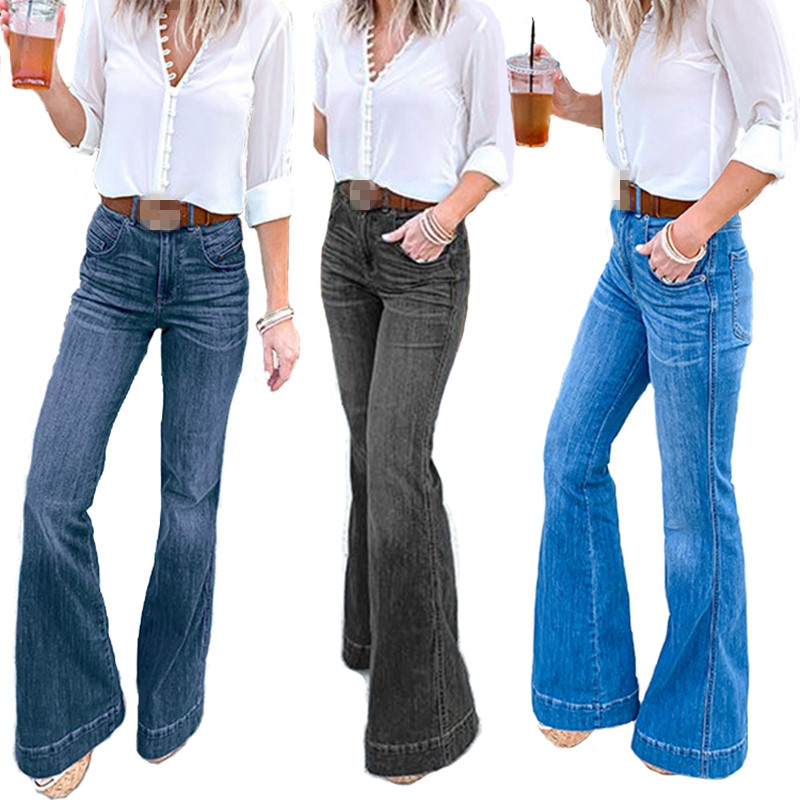 Ladies Denim High Waist Flare Jeans Boyfriend Jeans For Women Skinny Bell Bottom Jeans Pants Female Wide Leg Mom Jeans Plus Size