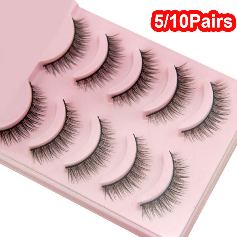 Hot 5 10 Pairs False Eyelash Extension Handmade Natural Cross False Eyelashes Perfect Eye Lashes Girls Makeup Wimper Extensiofor in False Eyelashes from Beauty Health